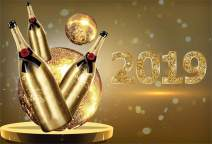 Laeacco Happy New Year 2019 Backdrop Vinyl 10x6.5ft Golden Mirror Ball Champagne Bottles Shiny 2019 Numbers Bokeh Haloes Photo Background New Year's Eve Party Banner Child Baby Adult Portrait Shoot