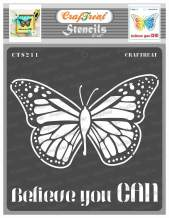 CrafTreat Butterfly Stencils for Painting on Wood, Canvas, Paper, Fabric, Floor, Wall and Tile - Believe You can - 6x6 Inches - Reusable DIY Art and Craft Stencils - Butterfly Stencil Template