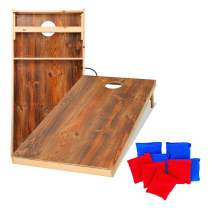 UKASE Solid Wood Cornhole Set Portable Toss Game with Bean Bags, Durable Wood Grain Printed Surface and Underneath for Indoor and Outdoor (Junior, Tailgate, Regulation)
