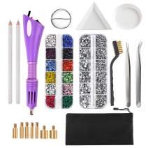 Dorhui Hotfix Applicator, DIY Hot Fix Rhinestone Applicator Wand Setter Tool Kit with 7 Different Sizes Tips, Tweezers & Brush Cleaning kit and 2 Pack Hot-Fix Crystal Rhinestones