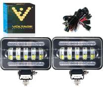 Voltage Automotive LED 4x6 Inch Dual Function Daytime Driving Light 6000K Off-Road (2 Pack + 1 Harness)