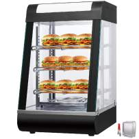 VEVOR 110V 15-Inch Commercial Food Warmer Display 3-Tier 1000W Electric Countertop Food Warmer Display 86-185℉ Pastry Display Case with 2 Trays & 1 Bread Tong for Buffet Restaurant Pizza Hamburger