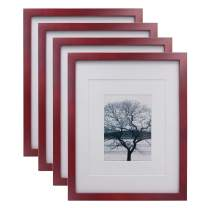 Egofine 11x14 Picture Frames 4 Pack Display Pictures 5x7/8x10 with Mat or 11x14 Without Mat Made of Solid Wood for Table Top Display and Wall Mounting Photo Frame, Claret Red