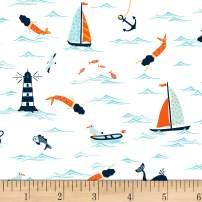 Dear Stella Designs I Don't Give A Ship Ocean Nautical Fabric, White, Fabric By The Yard