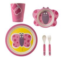 TheClearConscience Bamboo kids dinnerware set | 5 pieces tableware set | Butterfly with cutlery | bowl, drinking cup, plate, fork and spoon | reusable, natural material, BPA free | dishwasher safe