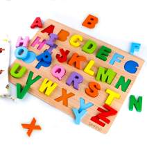 SKYFIELD Wooden Alphabet Puzzles, Abc Puzzle Board for Toddlers 3 - 8 Years Old,Preschool Boys & Girls Educational Learning Letter Toys, Sturdy Wooden Construction , 13.4'' L x 9.8'' (Alphabet Puzzle)