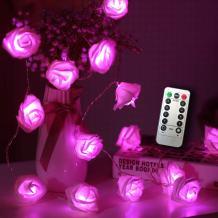 Timer 8 Modes 30 LED Battery Operated Pink Rose Flower 16.4 Feet Fairy String Light for Valentine Decoration Wedding Bedroom Garden Christmas Decor (30LED 16.5Feet, Pink)