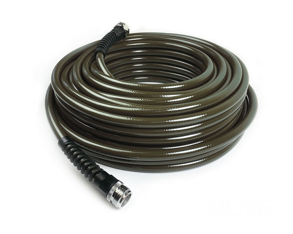 Water Right 400 Series Polyurethane Slim & Light Drinking Water Safe Garden Hose, 75-Foot x 7/16-Inch, Brass Fittings, Olive Green, USA Made