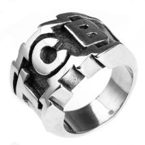 LAMUCH Jewelry Fashion Stainless Steel Alphabet TCB Rings for Mens