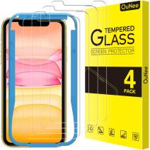 [4 Pack] OuNee Screen Protector for iPhone 11 & iPhone XR 6.1 Inch, iPhone 11/iPhone XR 6.1 Inch Tempered Glass Screen Protectors, 9H Hardness, HD Clear, Scratch Resistant, Bubble Free