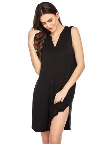 Ekouaer Women Nightgown Button Front Sleepshirt Sleeveless Nightshirt Comfy Sleep Tee with Pockets Casual Sleepwear