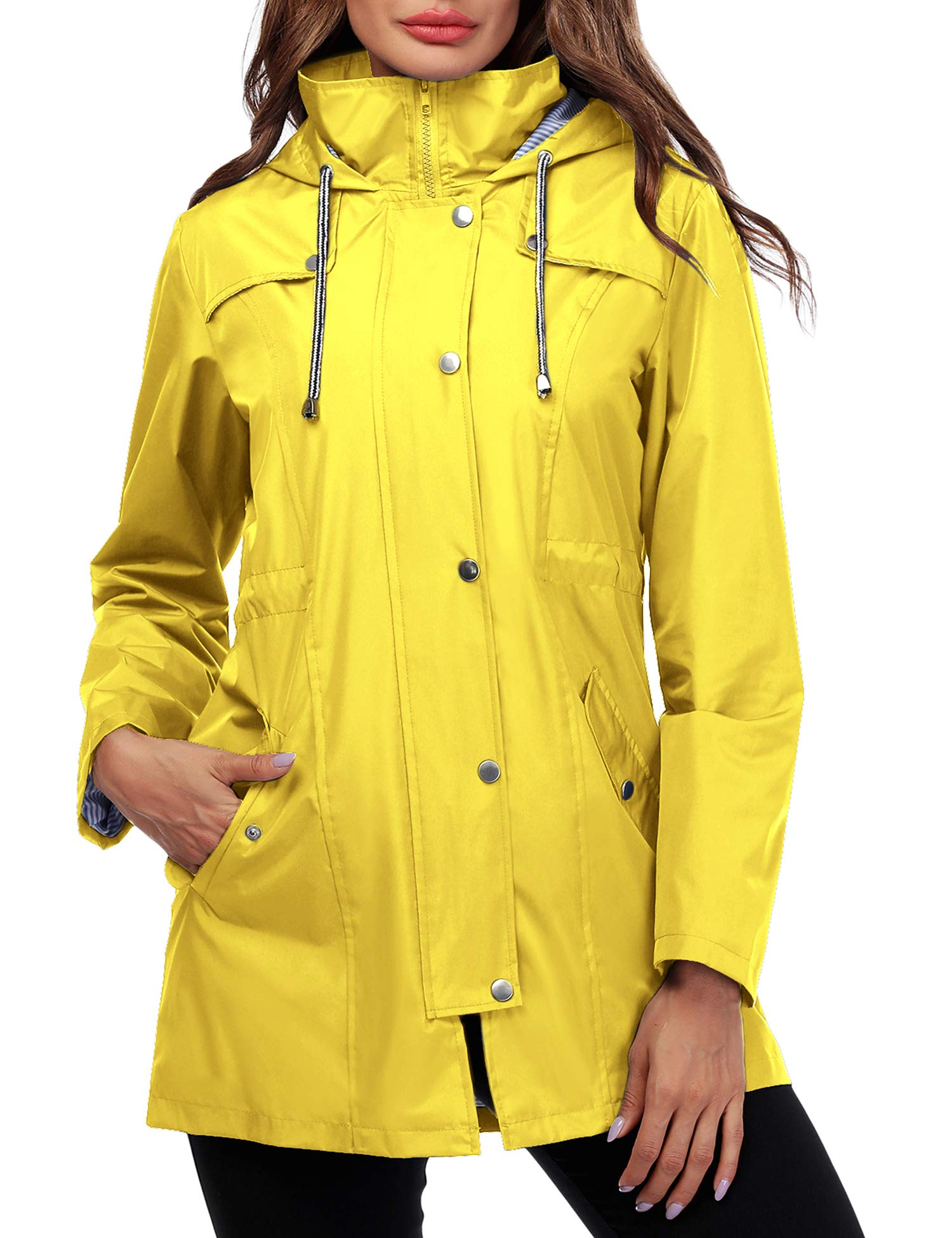 Doreyi Women Rain Jacket Striped Lined Hooded Lightweight Outdoor Waterproof Raincoat