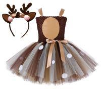 Tutu Dreams Deer Giraffe Costume for Girls 1-10Y Brown Tutu Dress with Antler Headband Birthday Halloween Outfits Gifts