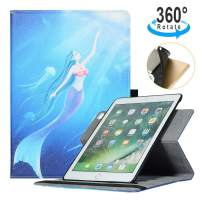 iPad 6th/5th Generation Case, iPad Air Case - AiSMei Rotating Case with Flexible TPU Back Cover for iPad 9.7 2018/2017, iPad Air1, Smart Cover with Pencil Holder,Auto Wake/Sleep -Mermaid