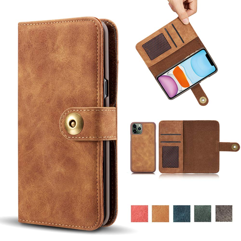 """iPhone 11 Pro Case, Vintage 2 in 1 [Magnetic Detachable] Flip Folio Wallet PU Leather Case Removable Retro [4 Card Slot] Holder Protective Cover for iPhone 11 Pro 5.8"""" - Brown"""