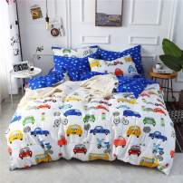 mixinni Kid Twin Duvet Cover Cars, Various Types of Vehicles Bus Truck Garbage Truck Vibrant Colored Design 100% Soft Cotton Bedding Set, Great Gift for Girls Boys Teens(3pcs, Twin Size)