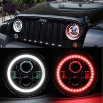 HOZAN 7inch LED Headlight with White DRL Integrated Red Halo Ring Turn Signal for Jeep Wrangler JK & Unlimited JK Rubicon Sahara CJ7 CJ8 TJ LJ Hummer H2-2 Pack