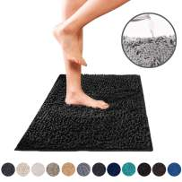 DEARTOWN Non-Slip Shaggy Bathroom Rug (Black,27.5x47 Inches),Soft Microfibers Chenille Bath Mat with Water Absorbent, Machine Washable