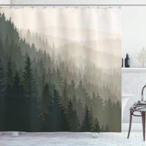 "Ambesonne Forest Shower Curtain, Northern Parts of The World with Coniferous Trees Scandinavian Woodland, Cloth Fabric Bathroom Decor Set with Hooks, 84"" Long Extra, Green Cream"