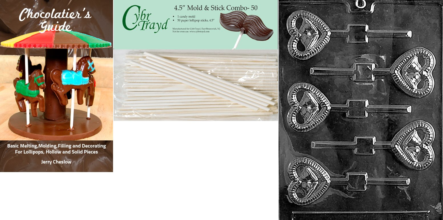 Cybrtrayd 'Bells in Heart Lolly' Wedding Chocolate Candy Mold with 50 4.5-Inch Lollipop Sticks and Chocolatier's Guide