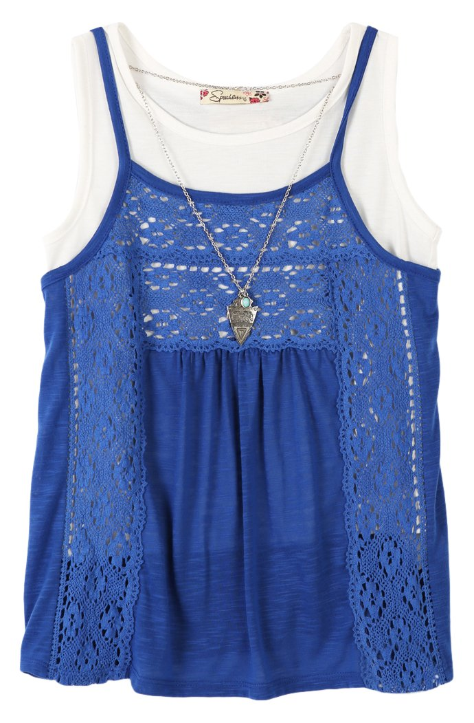 Speechless Girls' Big 2 Piece Racer Back Cami with Tank Top with Necklace