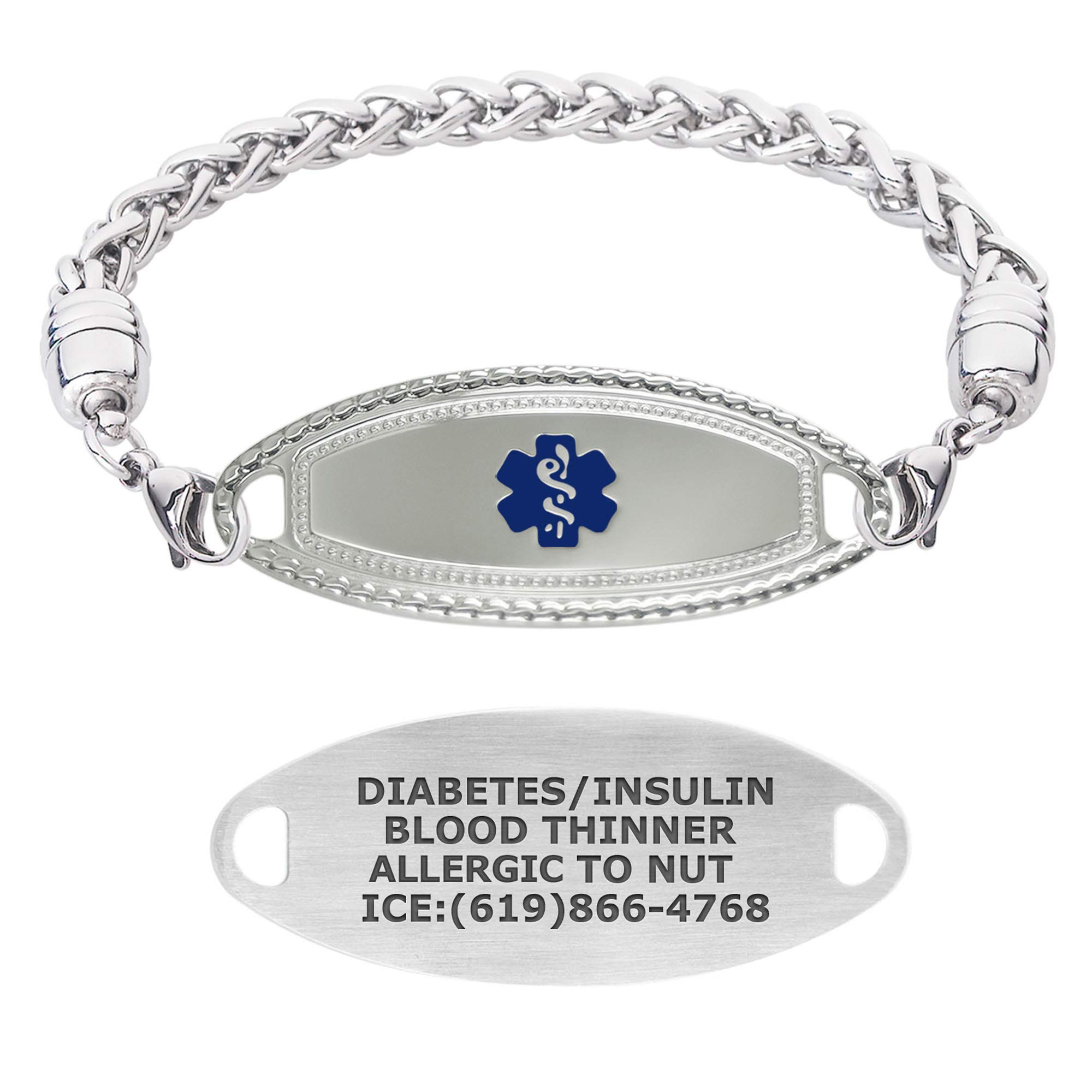 Divoti Custom Engraved Medical Alert Bracelets for Women, Stainless Steel Medical Bracelet, Medical ID Bracelet w/Free Engraving – Premier Tag w/Wheat– Color/Size