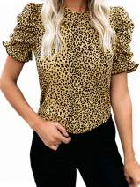 GAMISOTE Womens Leopard Short Puff Sleeve T Shirts Mock Neck Summer Slim Tee Tops