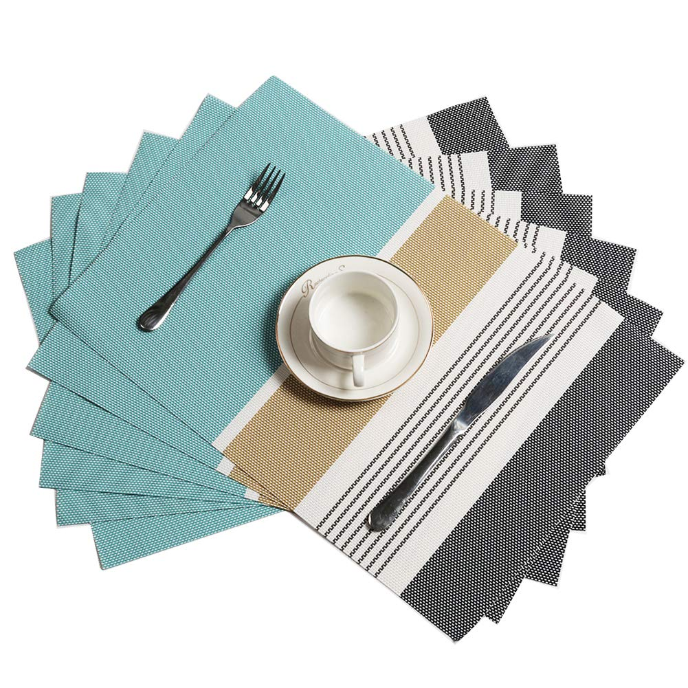 HEBE Placemats Set of 6 Washable Placemats for Dining Table Heat Insulation Woven Vinyl Kitchen Table Mats Wipe Clean