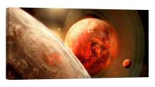 LightFairy Glow in The Dark Canvas Painting - Stretched and Framed Giclee Wall Art Print - Space Outerspace Red Planets - Master Bedroom Living Room Decor - 6 Hours Glow - 32 x 16 inch