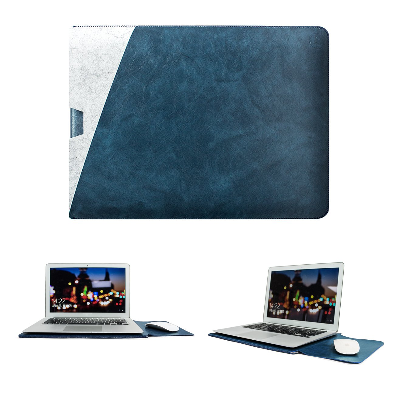 WALNEW 13-Inch Laptop Sleeve Case Bag for 13 Inch MacBook Air 2020/2019/2018 & MacBook Pro 2019/2018/2017/2016, Soft PU Leather MacBook Cover with Built-in Mouse Pad and Dual Pockets, Dark Blue