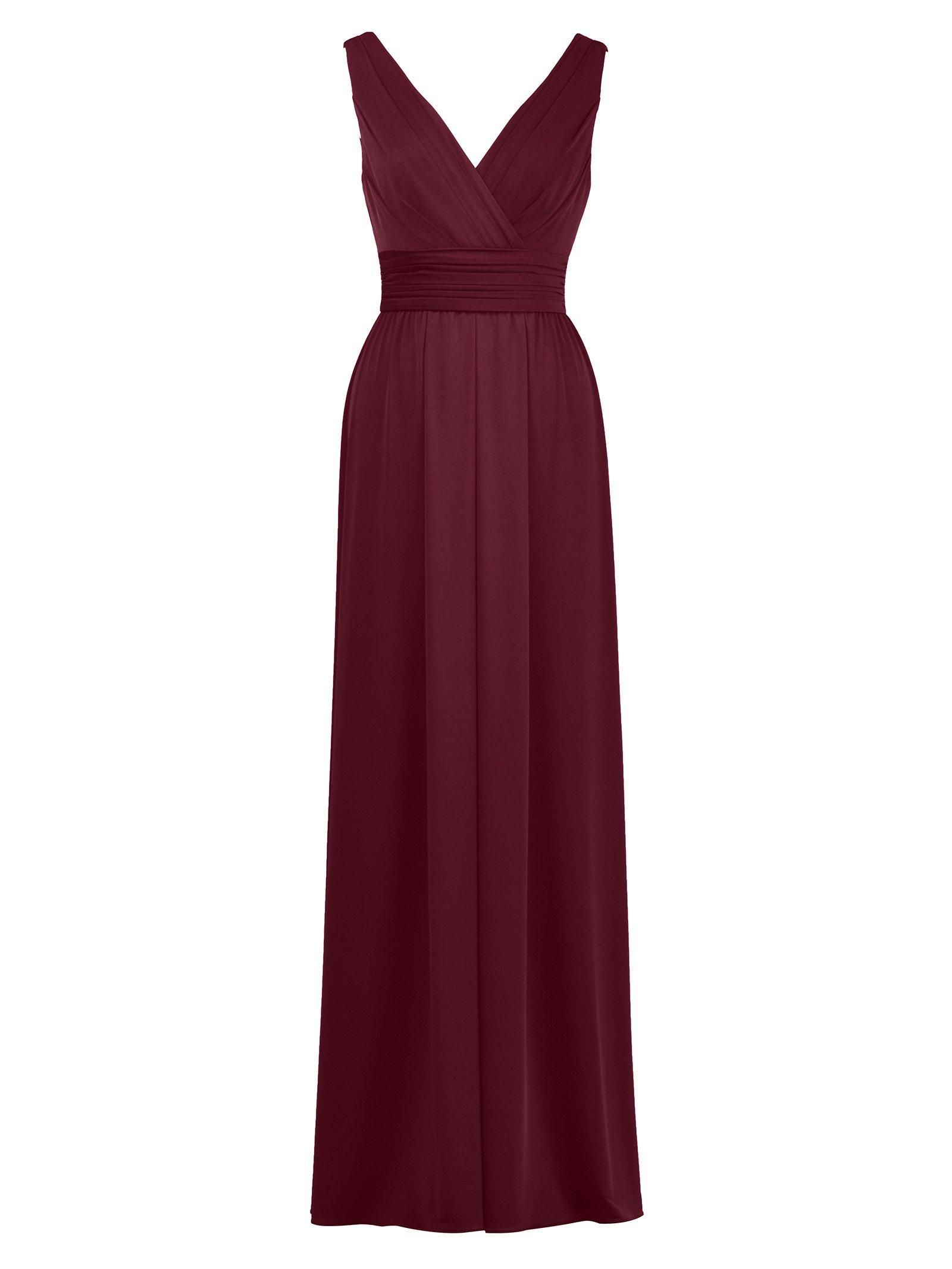 Alicepub V-Neck Long Jersey Gown Sleeveless Knit Formal Evening Dresses for Women