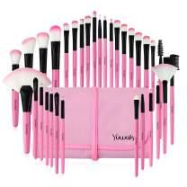 Yuwaku Pink Makeup Brush Set, 32pcs Premium Synthetic Brushes, Kabuki Foundation Brush Blending Face Powder Blush Concealers Eye Shadows Cosmetic Brushes Kit with Nylon Bag