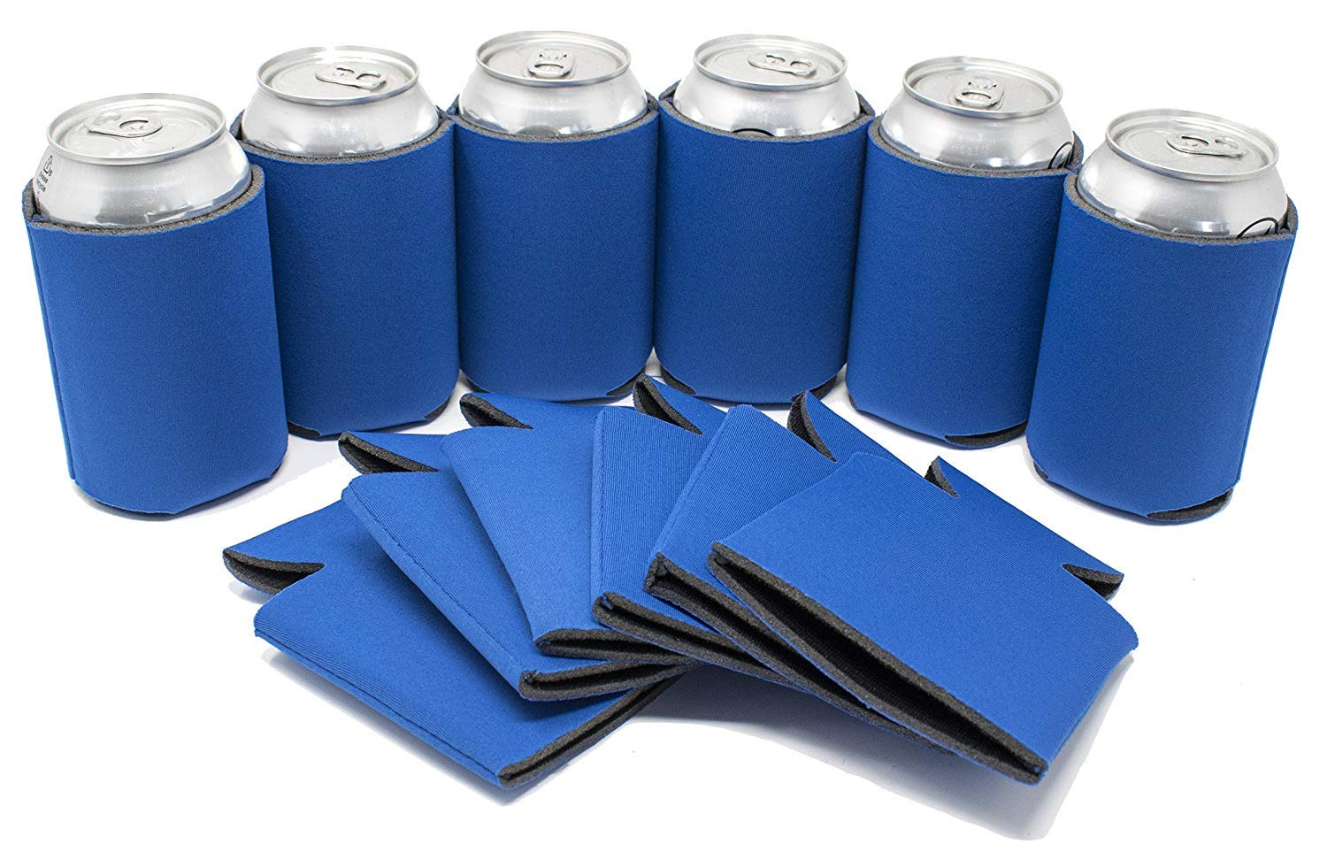TahoeBay 25 Blank Beer Can Coolers, Plain Bulk Collapsible Soda Cover Coolies, DIY Personalized Sublimation Sleeves for Weddings, Bachelorette Parties, Funny HTV Party Favors (Royal Blue, 25)
