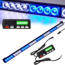 White/Blue Directional Emergency Strobe Warning Lights Bar Traffic Advisor Light Bar 36 In 16 Flash Modes 32 Led Hazard Warning Flashing Safety Light with Led Display Screen Controller(35.5 Inch, 32W)