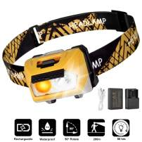 LED Headlamp Flashlight, USB Charging Headlamp, waterproof Headlamp, With emergency AAA battery box, Camping and Outdoor Headlamps, Adjustable Strap, Kids and Adults, Perfect Headlamps (Yellow)