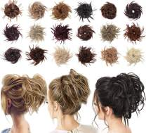 Tousled Updo Messy Bun Hair Piece Scrunchies Synthetic Wavy Extension Ponytail with Elastic Rubber Band Hairpiece Updo Extensions Scrunchies Wavy Hair and Ponytail Chignon Instant Ponytail for Women