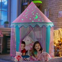 iBaseToy Kids Tent with Glow in The Dark Stickers, Princess Castle Tent for Girls, Portable Foldable Pop up Tent Playhouse with Carrying Bag for Children Indoor Outdoor Games, 41'' x 55'' (DxH)