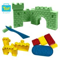 Tot Stuff Magic Shapable Sand - Castle and Block Set, Color Mixing Sand, Play Kit with Castle Model and Block Builders, Available in Assorted Colors(Green)