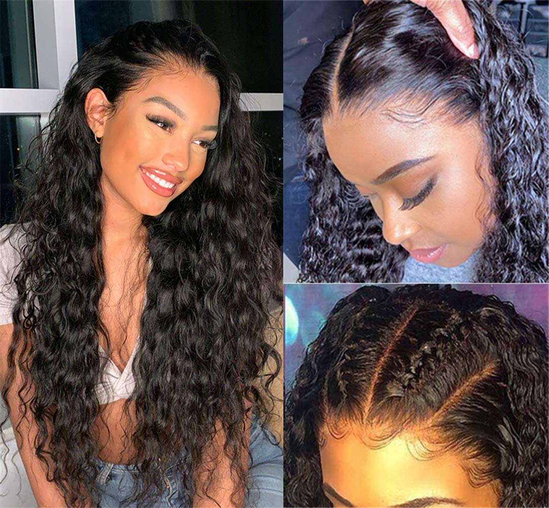 Brazilian Water Wave Lace Front Wigs Human Hair for Black Women 150% Density Glueless Lace Front Wigs Human Hair Wet and Wavy Lace Front Wig with Baby Hair Pre Plucked 14 Inch Water Wave Lace Wig