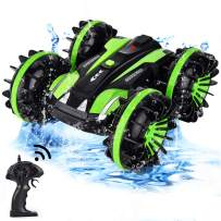 Flyglobal Waterproof RC Stunt Car Toy for Kids, 4WD Remote Control Car Boat Truck Vehicles 2.4Ghz Double Sided Rotate Water and Land 360 Spins Gifts Car Toys for Boys Girls Green