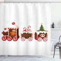 "Ambesonne Christmas Shower Curtain, Cloth Fabric Bathroom Decor Set with Hooks, Candy Cartoon Toys, 70"" Long"