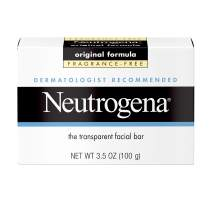 Neutrogena Original Fragrance-Free Facial Cleansing Bar with Glycerin, Pure & Transparent Gentle Face Wash Bar Soap, Free of Harsh Detergents, Dyes & Hardeners, 3.5 oz