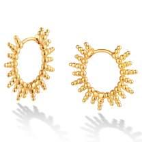 DREMMY STUDIOS Huggie Hoop Earrings 18K Gold Plated Dainty Dangle Simple Drop Delicate Spike Huggie Earrings for Women Gift for Her