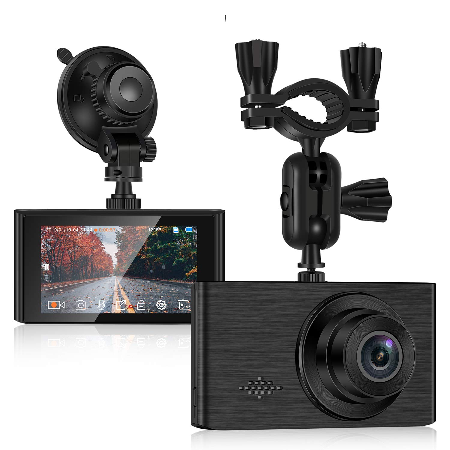 Dash Cam for car, 1296P Full HD Dash Camera for Cars Recorder Super Night Vision, 3 inches IPS Touch Screen 170° Wide Angle, G-Sensor, Support 64GB Card