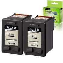 GREENCYCLE 2 Pack Remanufactured C9351A 21 21XL Black Ink Cartridge Compatible for HP Deskjet D1430 D1445 D1455 D1460 D1468 D1470 D1520(Show Ink Level)