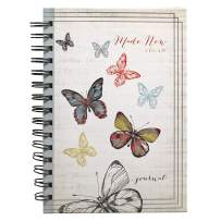 """Christian Art Gifts Large Hardcover Notebook/Journal   Made New Butterfly – 2 Corinthians 5:17 Bible Verse   Vintage Butterfly Inspirational Wire Bound Spiral Notebook w/192 Lined Pages, 6"""" x 8.25"""""""
