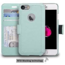 navor Slim & Light Premium Flip Wallet Case with RFID Protection Compatible for iPhone 7 & 8 - [4.7 inch] (Zevo S2 Series) - Mint