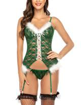 Avidlove Christmas Lingerie for Women Santa Babydoll Lingerie Set with Garter Belt(No Stockings)