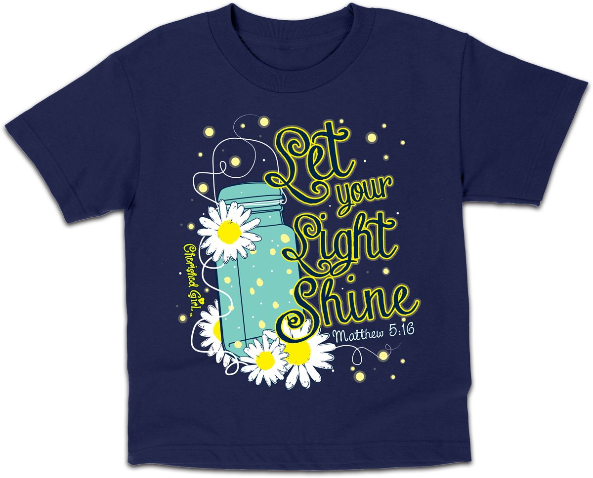 Lightning Bug Kids Tee Let Your Light Shine Girls Glow in The Dark T-Shirt