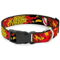 """Buckle-Down Plastic Clip Collar - The Flash Boom-Kaboom! - 1"""" Wide - Fits 15-26"""" Neck - Large"""